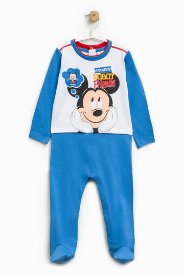 Mickey Mouse Robot onesie with feet, White/Cornflower Blue, hi-res