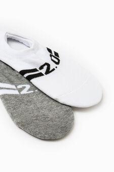 Set due paia calze salvapiedi, Bianco/Grigio, hi-res