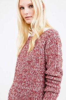 Pullover mélange lavorato tricot, Bianco/Rosso, hi-res