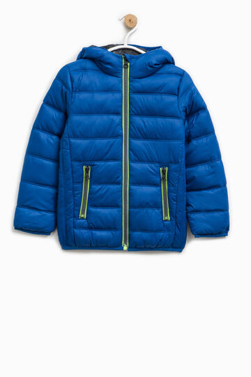 Solid colour down jacket with hood, Royal Blue, hi-res