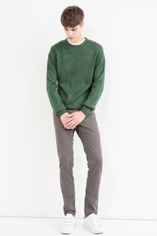 Solid colour stretch cotton trousers, Dark Grey, hi-res