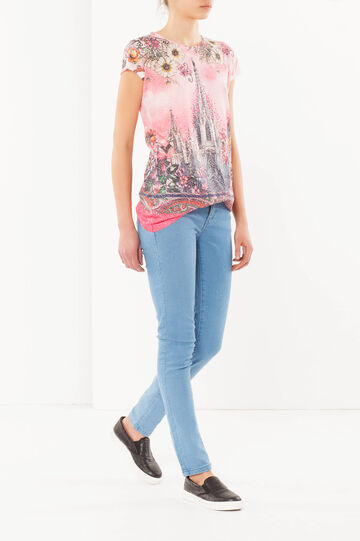 T-shirt con stampa, Bianco/Rosa, hi-res