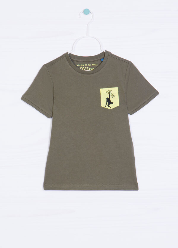 Cotton T-shirt with print and pocket | OVS