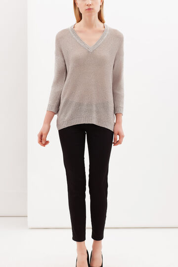 V-neck pullover, Grey, hi-res