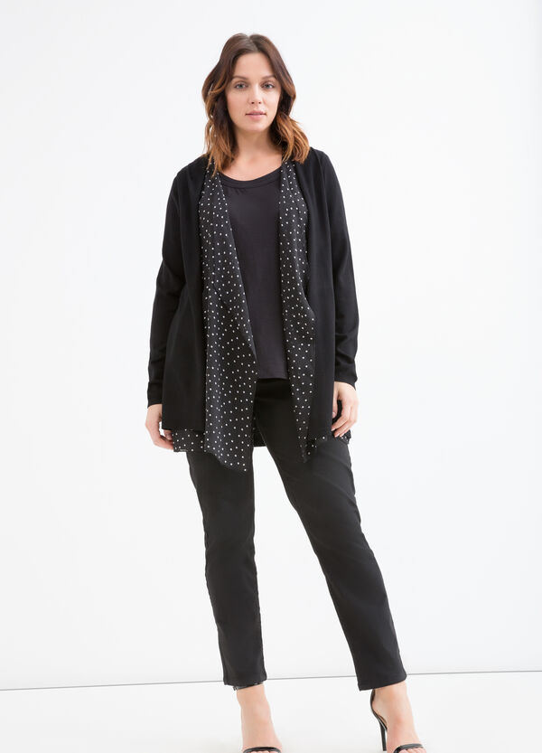 Curvy polka dot faux layer cardigan | OVS