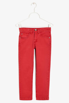 Five-pocket trousers, Red, hi-res