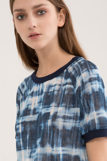T-shirt girocollo fantasia sfumata, Blu denim, hi-res