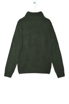 Solid colour knitted pullover, Green, hi-res