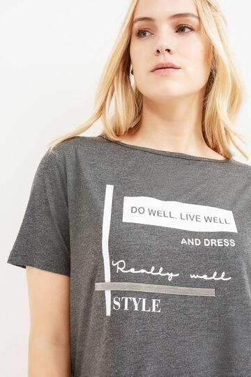 T-shirt stampa lettering Curvy, Grigio melange, hi-res
