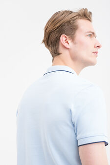 Solid colour polo shirt in 100% cotton, Light Blue, hi-res