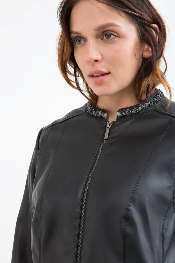 Curvy leather look jacket with applied diamantés | OVS