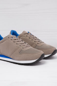 Low-top sneakers with contrasting sole., Beige, hi-res