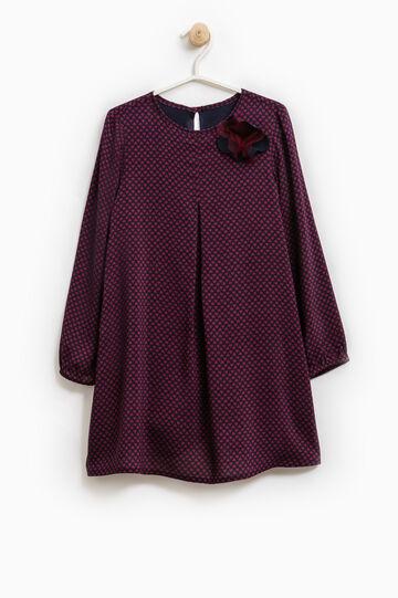 Flower pattern dress in 100% cotton, Blue/Red, hi-res