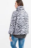 Curvy animal print down jacket with high neck, Black/Grey, hi-res