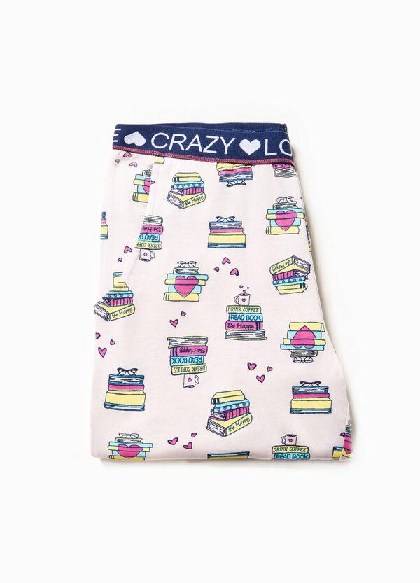 Pantalón de pijama de algodón con estampado de libros | OVS