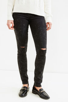 Ripped, skinny-fit jeans with misdyed effect., Black, hi-res