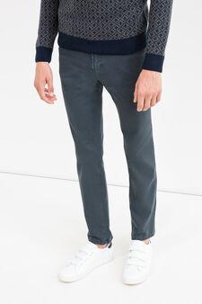 Slim fit, stretch cotton trousers, Blue, hi-res