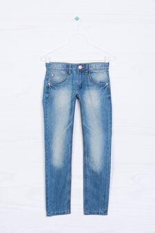Jeans cinque tasche effetto delavé, Lavaggio chiaro, hi-res
