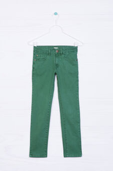 Five-pocket stretch trousers, Green, hi-res