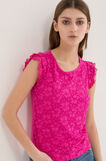 Stretch T-shirt with lace, Fuchsia, hi-res