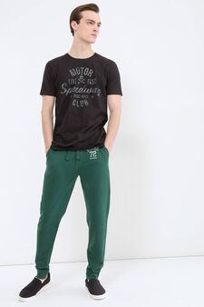 Pantaloni tuta puro cotone, Verde foglia, hi-res