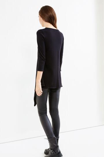 Cotton T-shirt with asymmetric hem, Black, hi-res