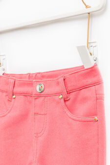 Stretch cotton blend trousers, Coral Pink, hi-res