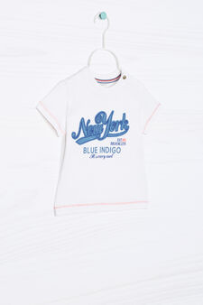 100% cotton T-shirt with patch, White, hi-res