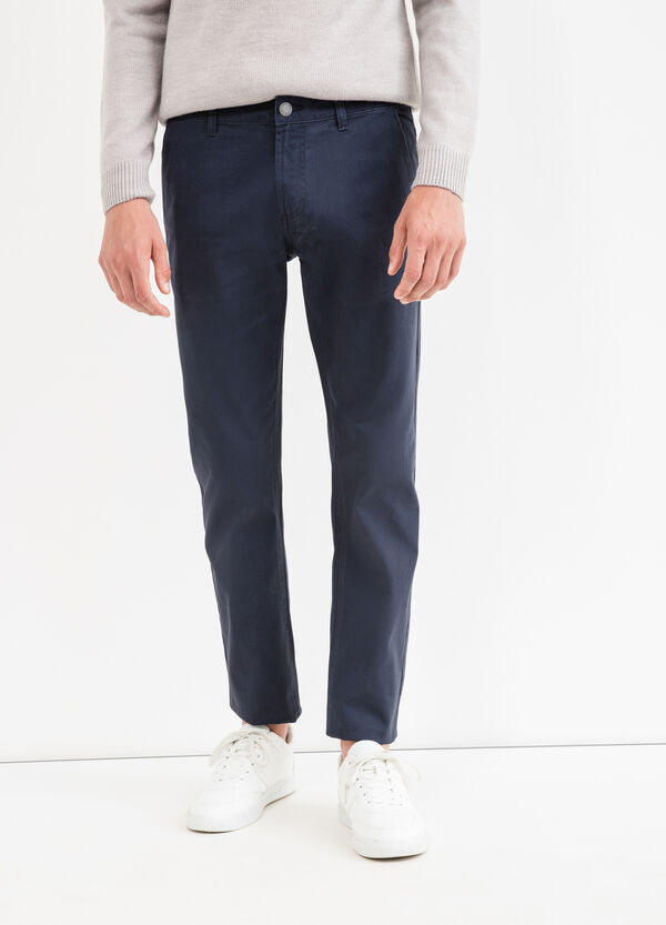 Solid colour 100% cotton trousers   OVS
