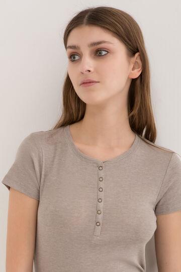 T-shirt puro cotone tinta unita, Marrone chiaro, hi-res