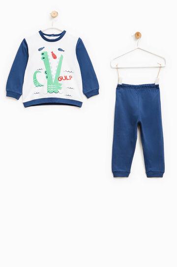 Pijama en algodón 100% con estampado, Blanco/Azul, hi-res