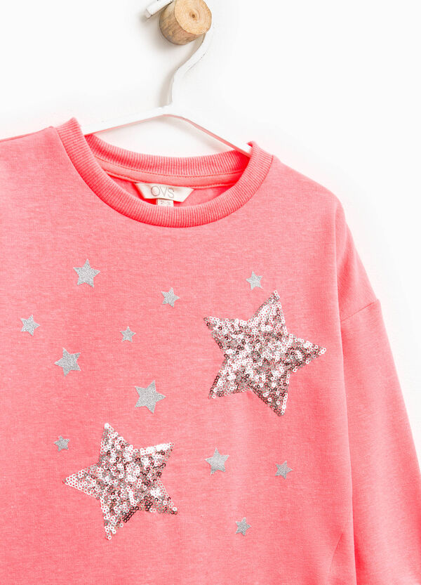 Sweatshirt with glitter print and sequins | OVS