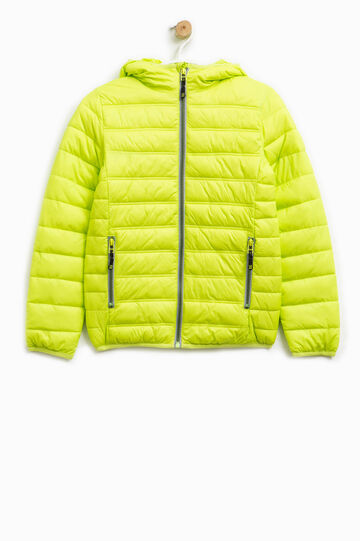 Solid colour down jacket with contrasting zips, Acid Green, hi-res
