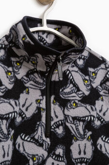 Sweatshirt with high neck and dinosaur print, Black, hi-res