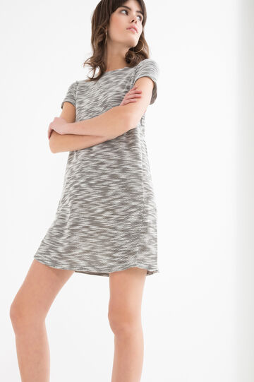 Stretch patterned dress, Dark Grey Marl, hi-res