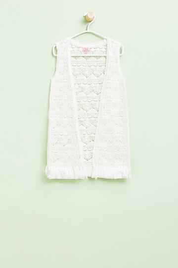 Cardigan tricot smanicato traforato, Bianco latte, hi-res