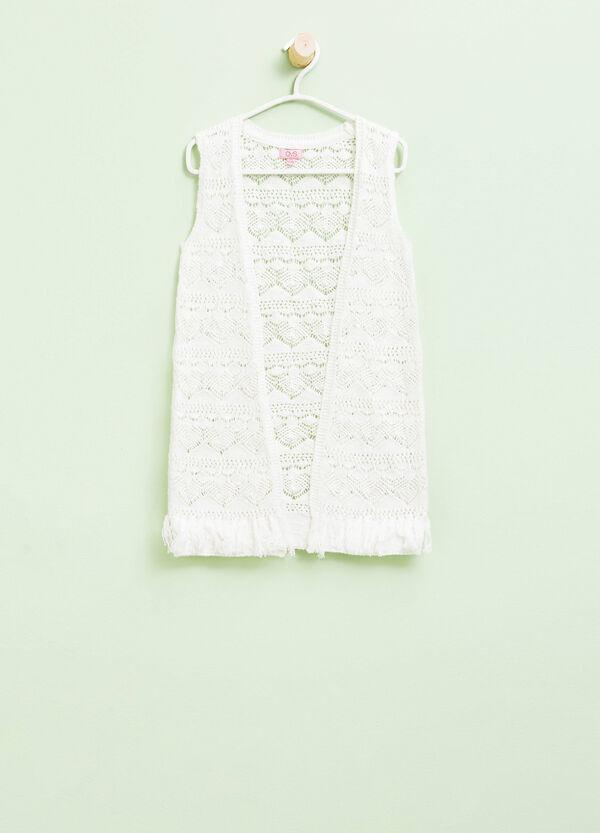 Knitted sleeveless openwork cardigan | OVS