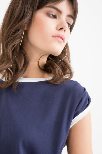 T-shirt cotone tinta unita, Blu, hi-res