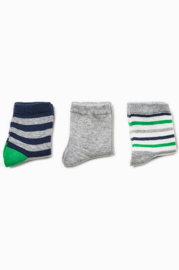 Three-pair pack short solid colour and striped socks, Multicolour, hi-res