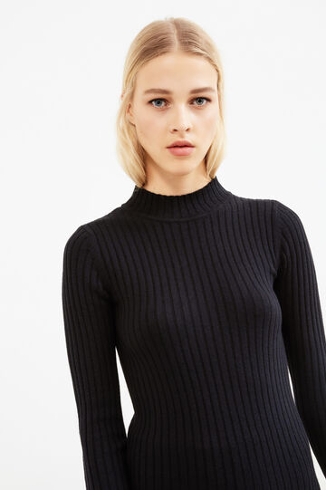 Ribbed mock turtleneck in wool and cotton, Black, hi-res