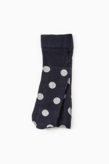 Polka dot cotton blend tights, Blue, hi-res