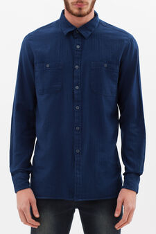 100% cotton slim fit shirt, Blue, hi-res