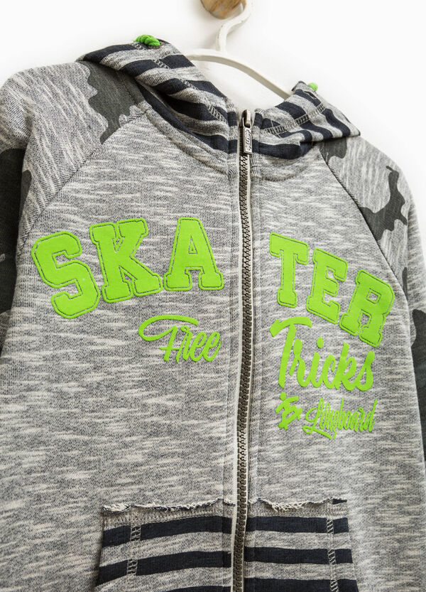 Camouflage and striped pattern hoodie   OVS