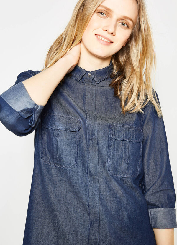 100% cotton shirt with rounded hem   OVS