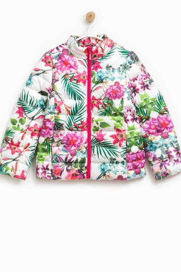 Down jacket with high neck and floral pattern, Multicolour, hi-res