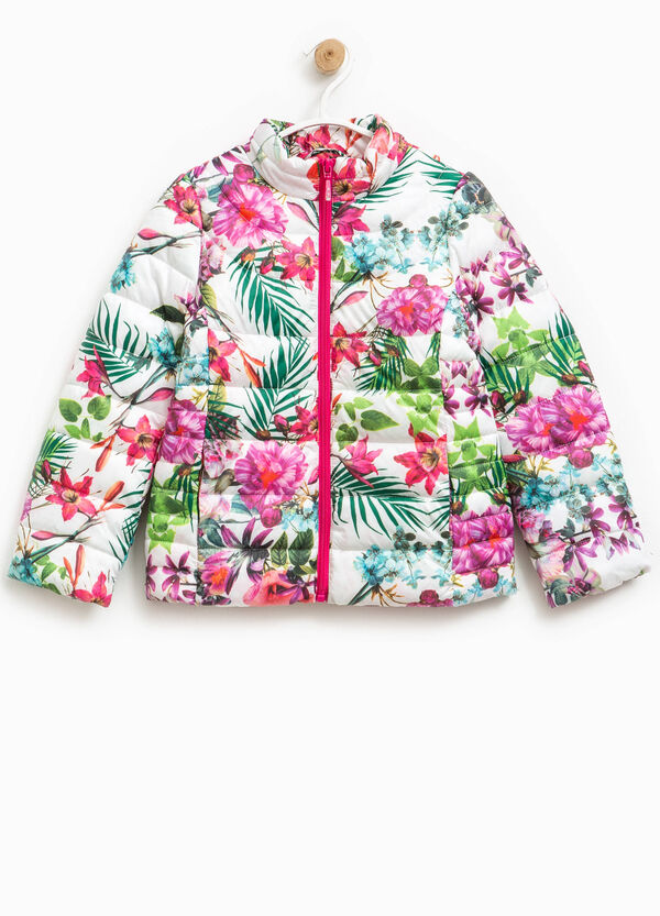 Down jacket with high neck and floral pattern | OVS