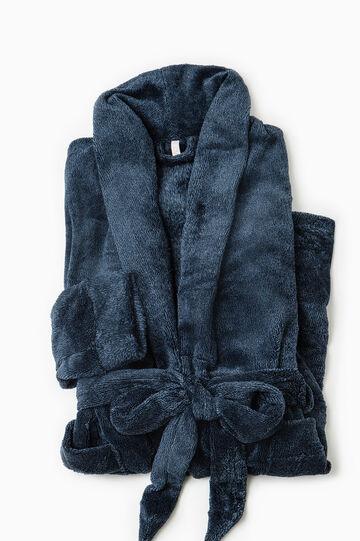 Vestaglia tinta unita con cintura, Blu navy, hi-res