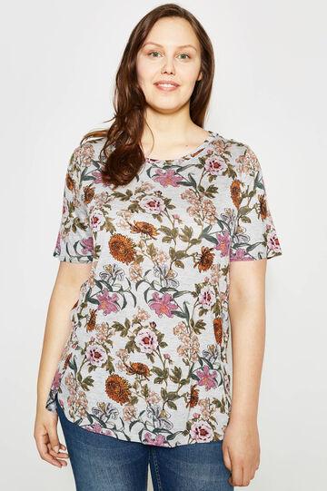Curvy mélange T-shirt with floral print, Multicolour, hi-res