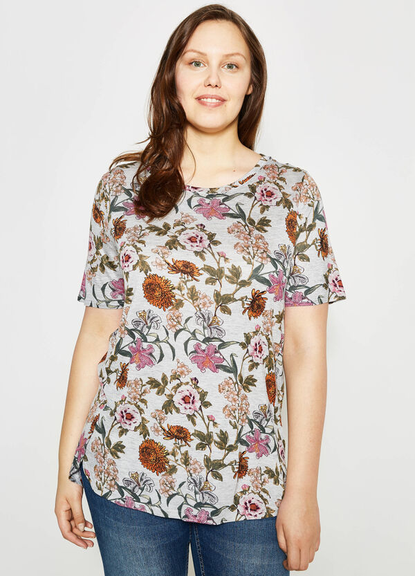 T-shirt mélange stampa floreale Curvy | OVS
