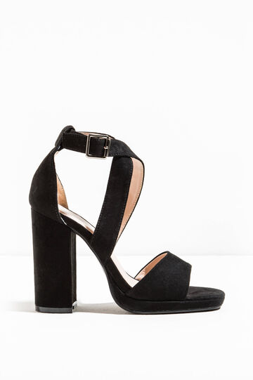 Crossover sandals with chunky heel, Black, hi-res
